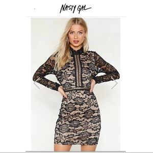 Nasty Gal Cross That Bridge Ladder Lace Dress Sz 4
